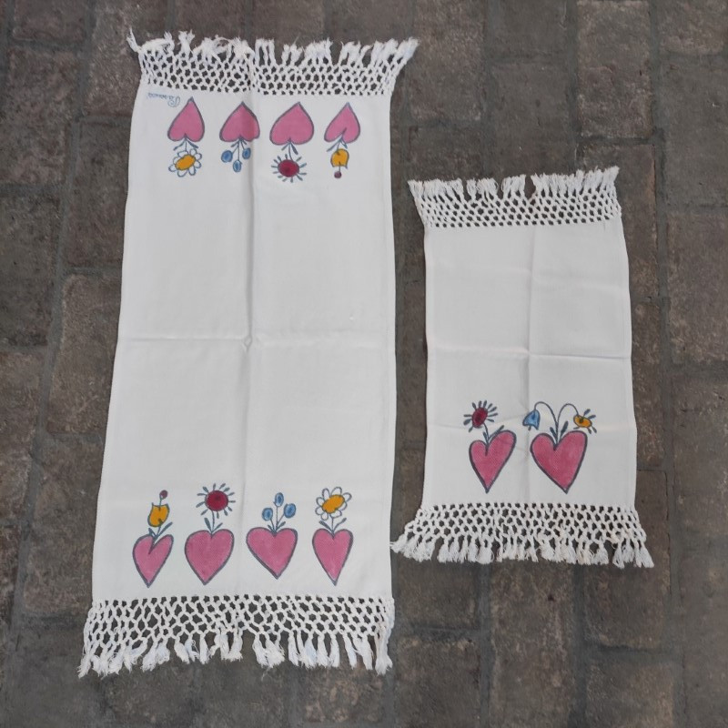 Asciugamano + Ospite Frange Cuori