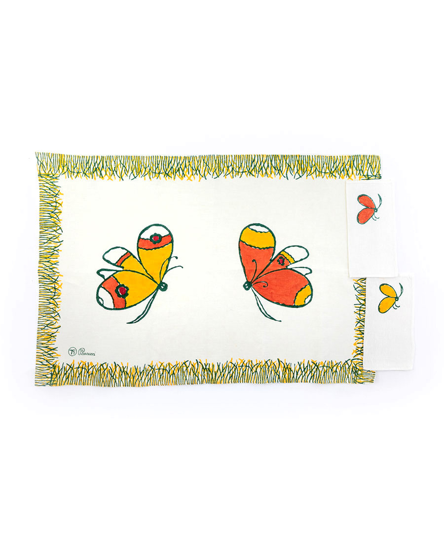 Butterflies Double placemat with two napkins