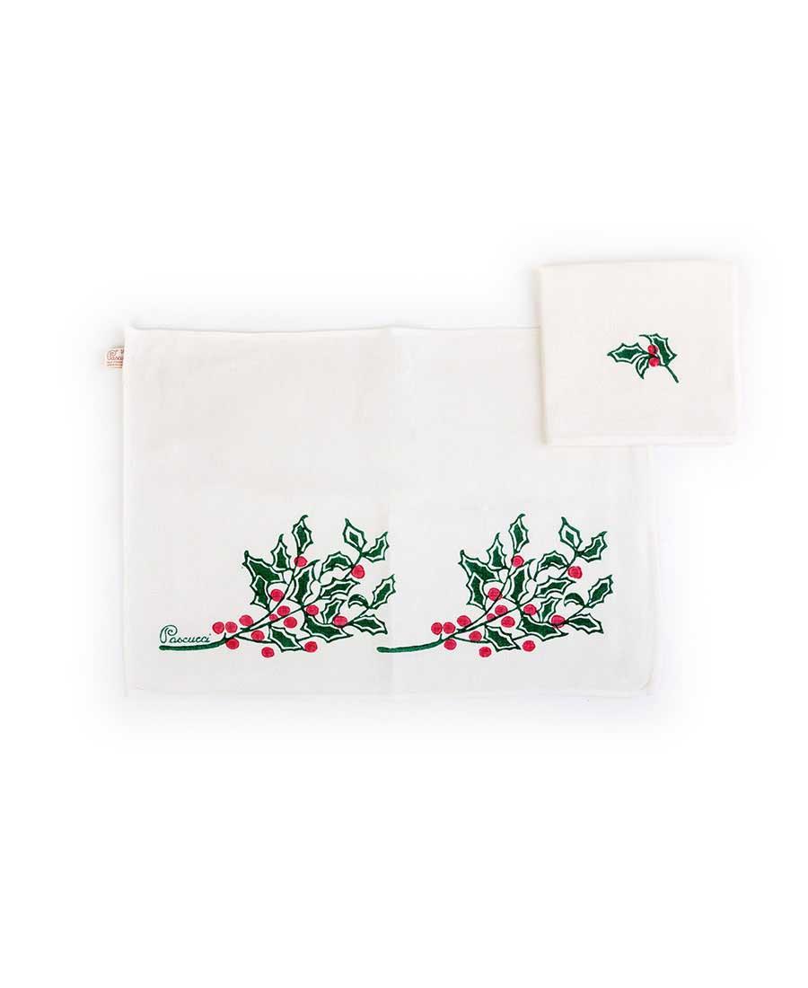 Tovaglietta Americana natalizia con un tovagliolo Agrifoglio